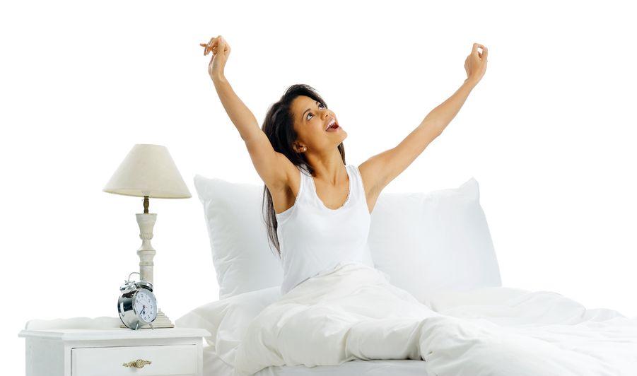 waking up happily