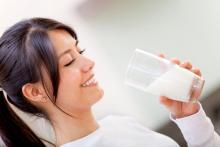 lady drinking milk